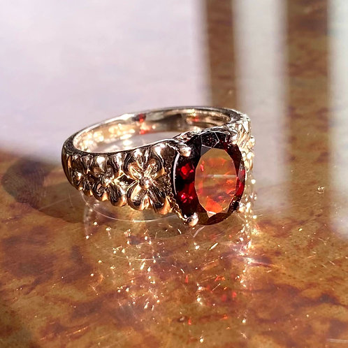 Garnet Secret Garden Flower Ring