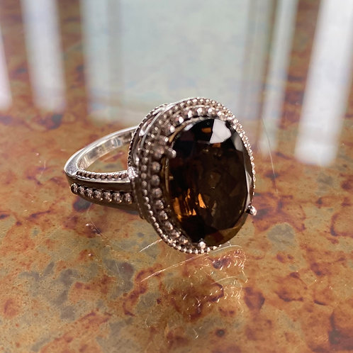 Smoky Quartz Oval Classic Ring