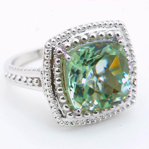 Mint Quartz Cushion Cut Classic Ring