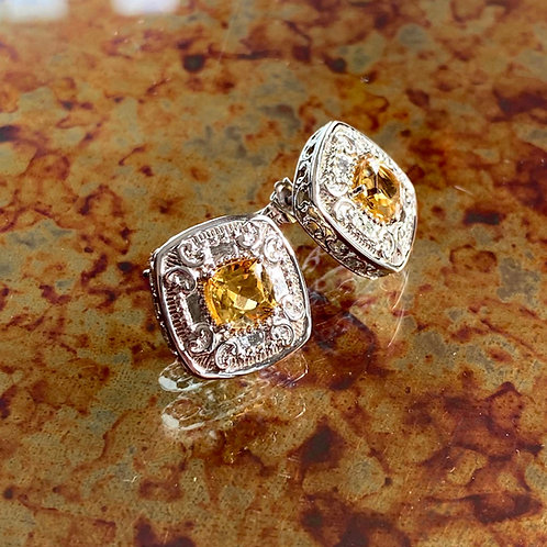 Cushion Cut Citrine Bling Earrings
