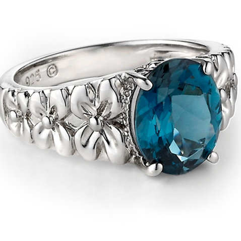 London Blue Topaz Secret Garden Flower Ring