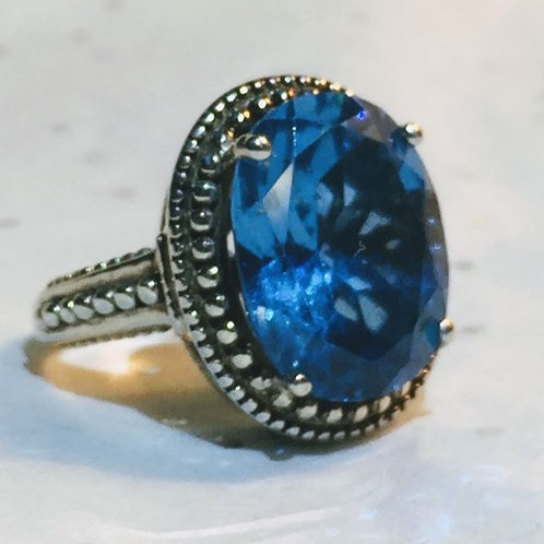 Swiss Blue Topaz Oval Classic Ring