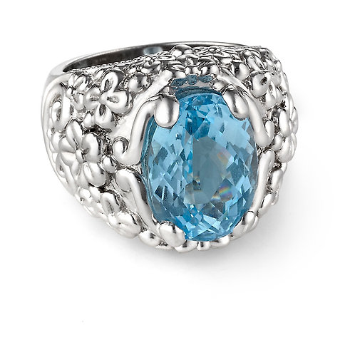 Sky Blue Topaz Oval Garden Cocktail Ring