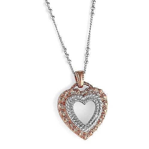 Sterling Silver and Pink Gold Plated Classic Rose Heart Pendant