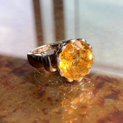 Round Flower Cut Honey Quartz Basket Ring