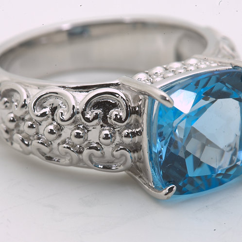 Cushion Cut Swiss Blue Topaz Ring