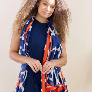 Blue and orange graphic print scarf