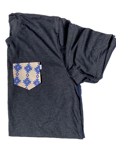 Charcoal Tee with Aztec Pattern Pocket