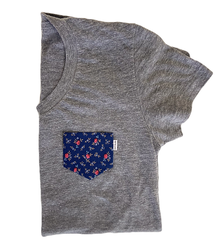 Women's Grey Tee with Blue Floral Pocket