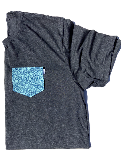 Charcoal Tee with Floral Pattern Pocket