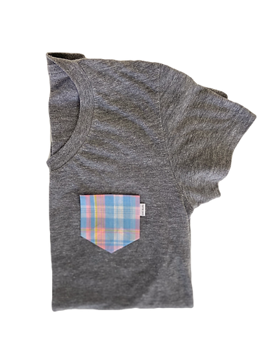 Women's Grey Tee with Pastel Flannel Pocket
