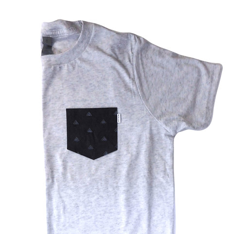 Men's Heather White Triblend Tee- Charcoal Pattern