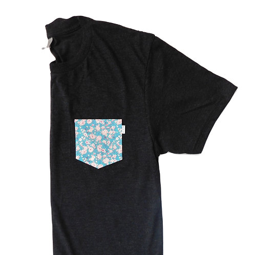 Men's Charcoal Triblend Tee- Floral Pattern