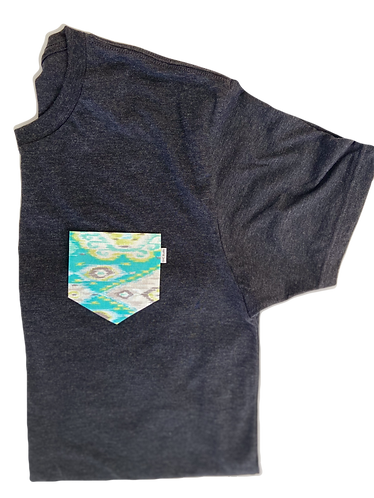 Charcoal Tee with Green Pattern Pocket
