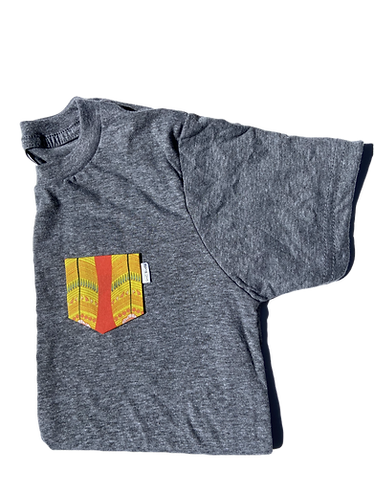 Kids Grey Tee with Surf Board Pocket
