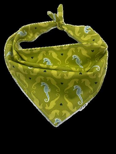 Olive Seahorse Dog Bandana
