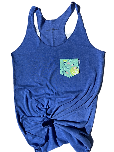 Women's Blue Tank Top with Floral Pocket