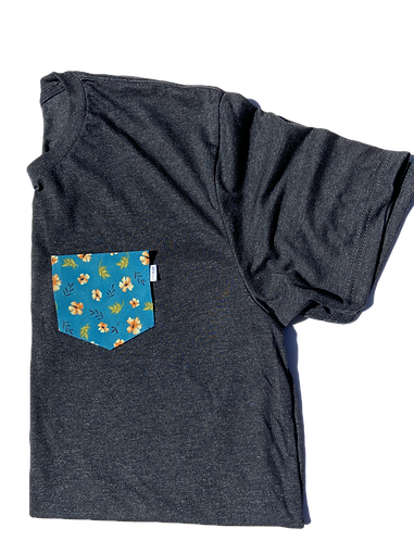 Charcoal Tee with Tropical Flower Pattern Pocket