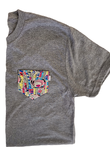Grey Tee with Multi-Color  Pocket
