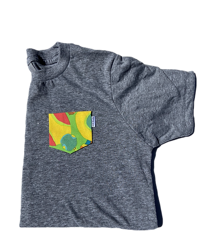 Kids Grey Tee with Color Splash Pocket