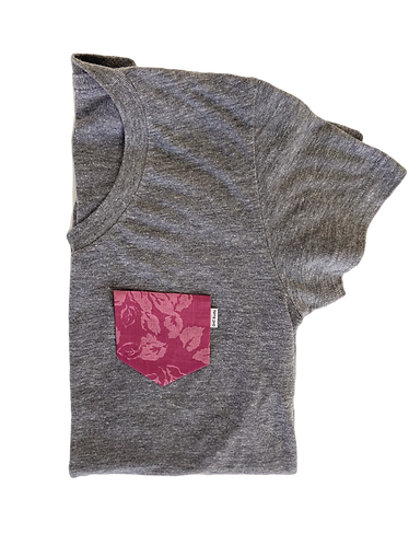 Women's Grey Tee with Pink Floral Pocket