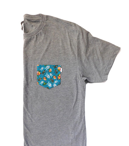 Men's Grey Triblend Tee- Elephant Pattern