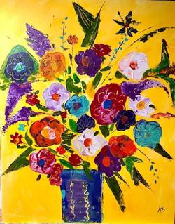 Flowers in Dark Blue Vase