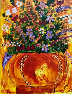 Flowers in Terra-Cotta Vase
