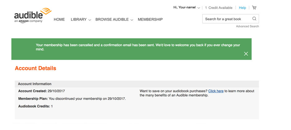 Confirmation of cancelled Audible account