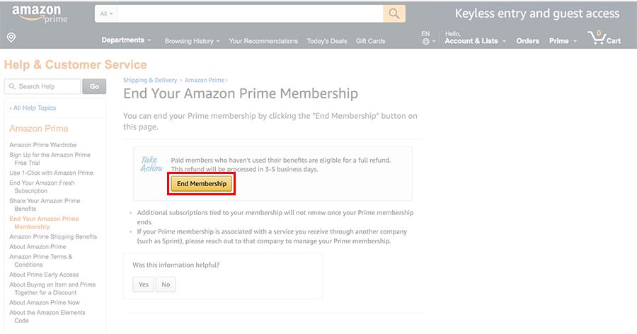 End Membership of Amazon Prime