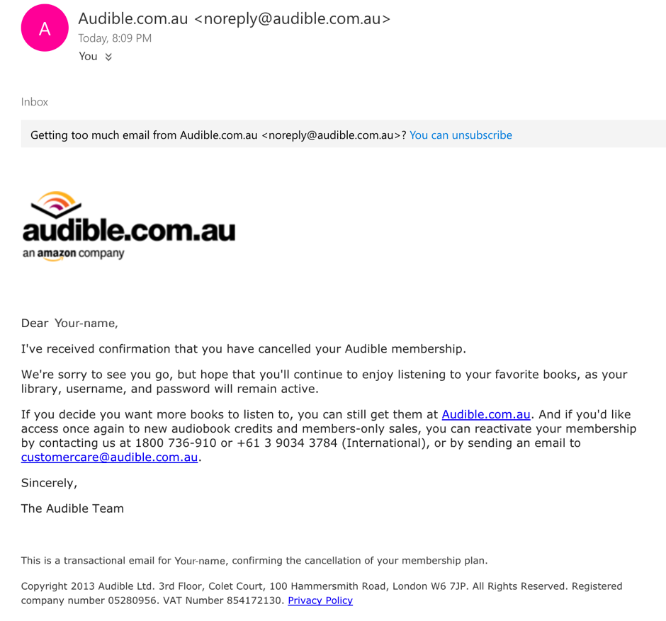 Email message confirming the cancellation of your Audible account