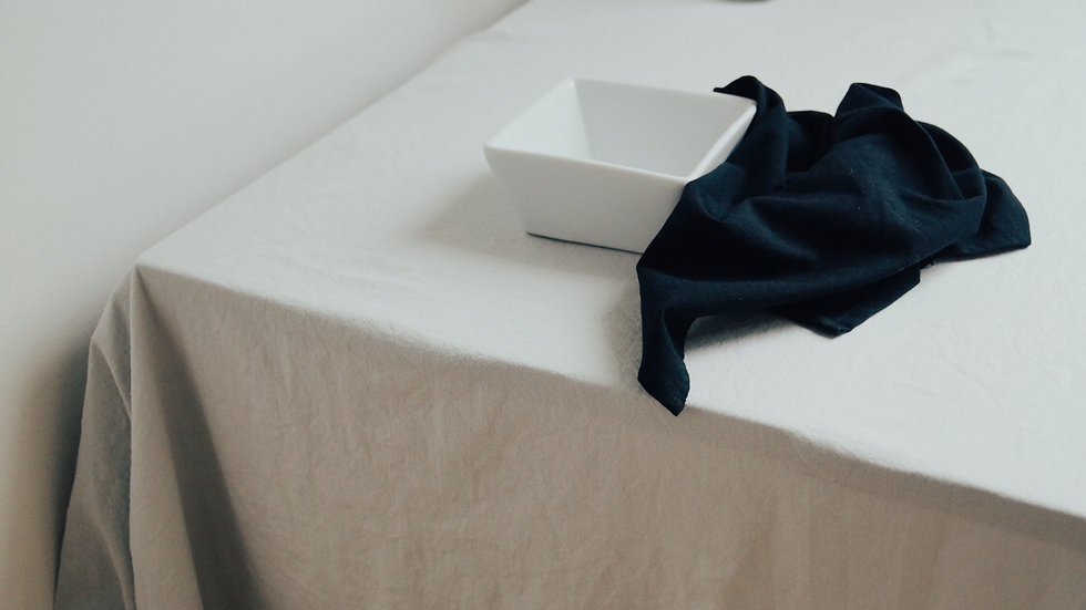 GLACIER TABLECLOTH + CARBON NAPKINS