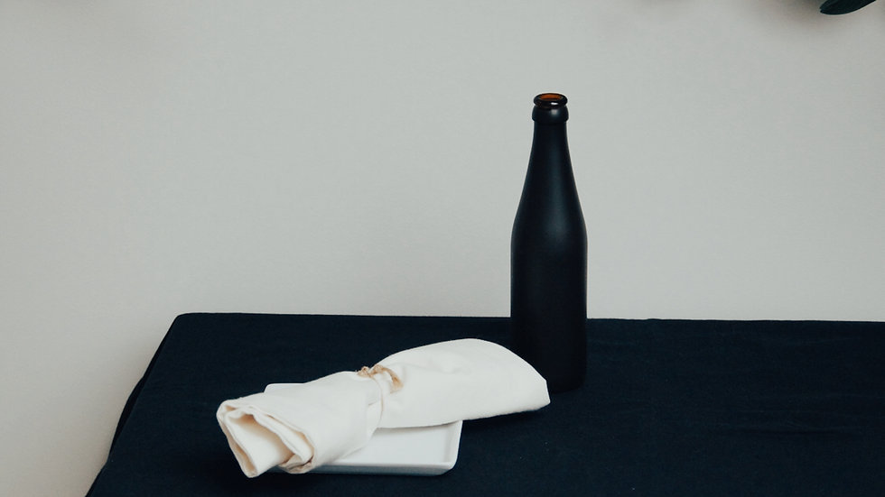 CARBON TABLECLOTH + NUDE NAPKINS