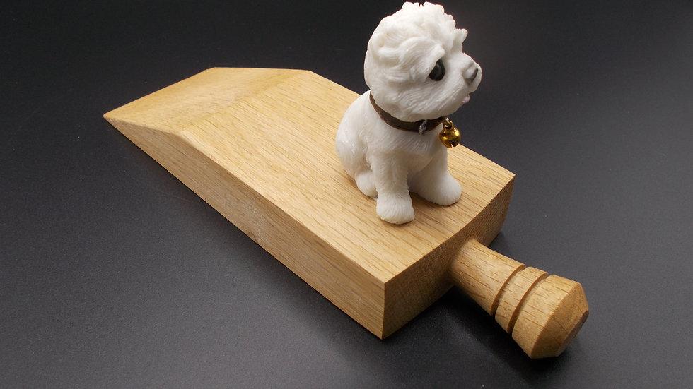 Oak Door stop with white Terrier