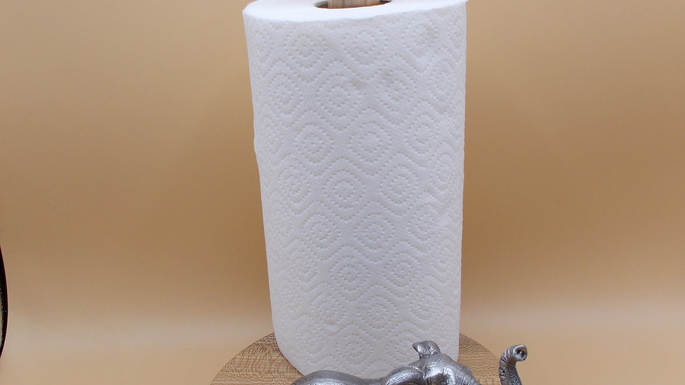 Kitchen Roll holder with Silver Elephant
