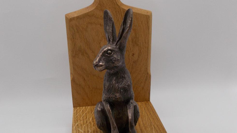 Large Oak Door stop with Bronze Hare (Poppy)