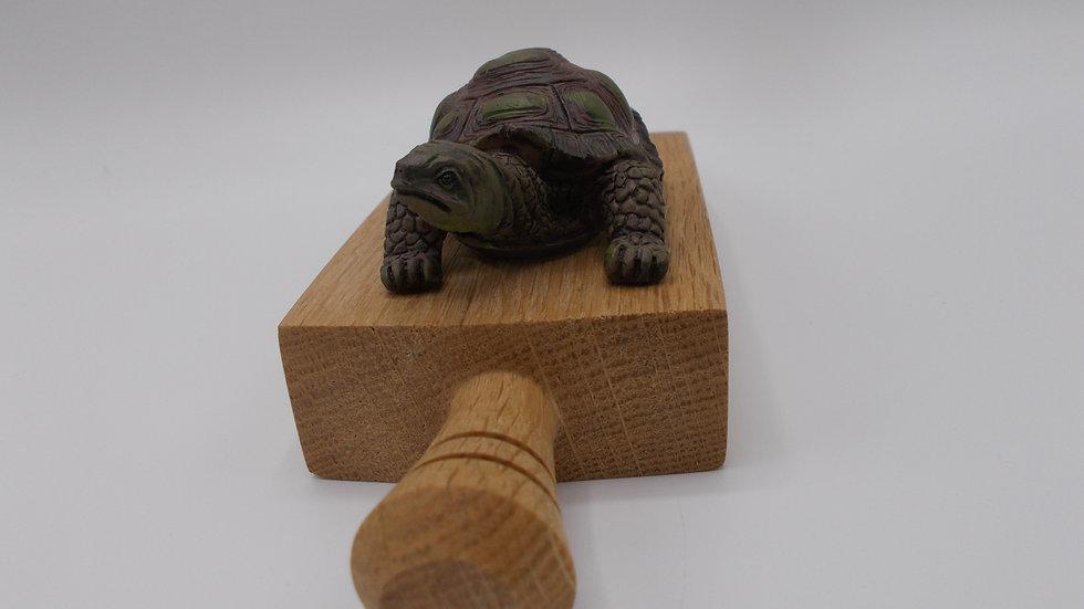 Oak door stop with tortoise