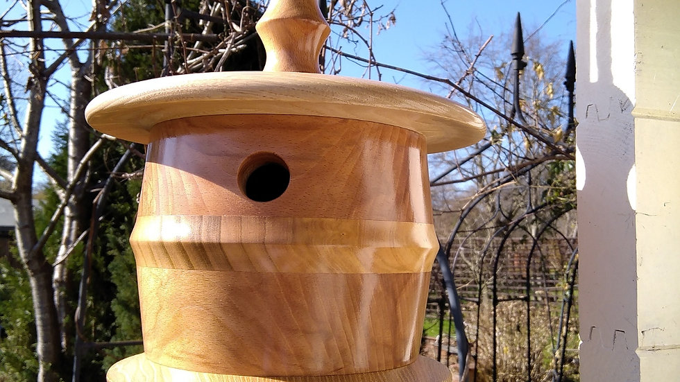 Hand turned Bird House, spectacular bird box , unique design , great gift