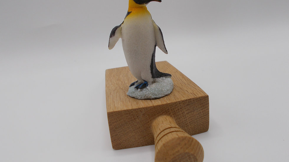Oak door stop with Penguin
