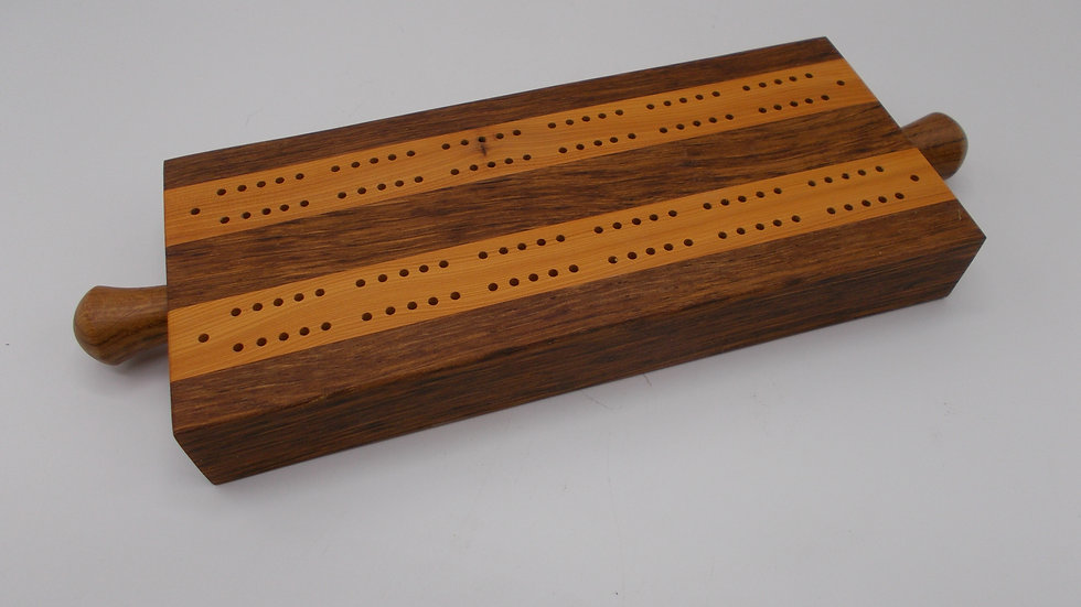 Traditional Cribbage board hand made in Brown Oak and Yew