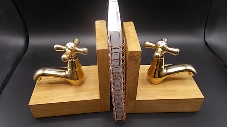 English Oak bookends with Upcycled Taps