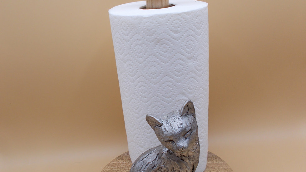Kitchen Roll holder with Silver Cat