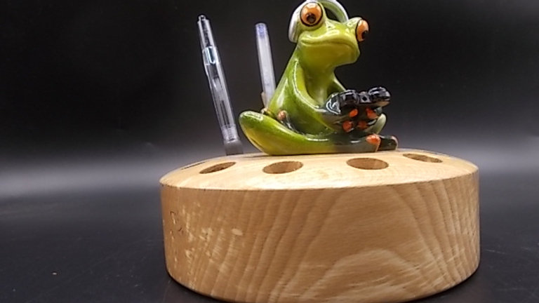 Pen Holder with Gaming Frog, hand made in Spalted Beech
