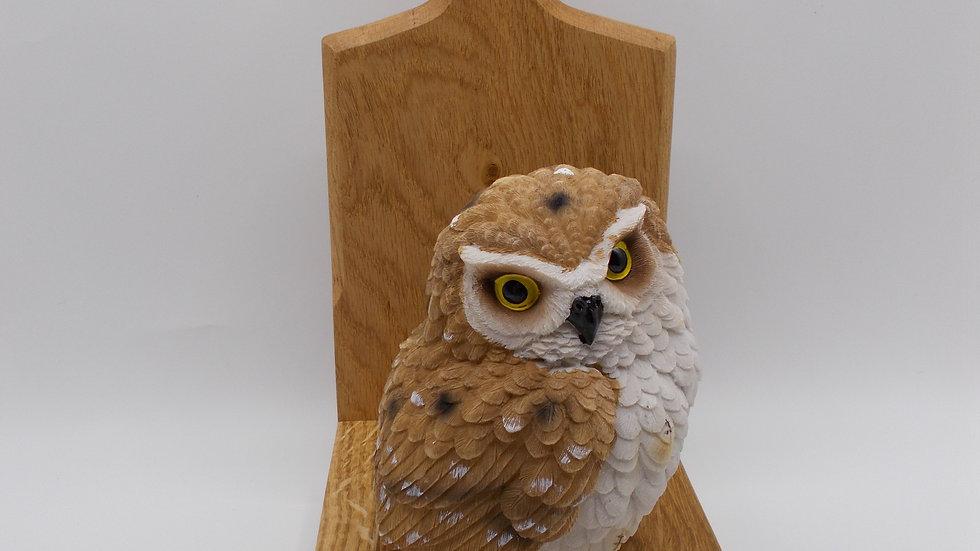 Large Oak door stop with light brown Owl
