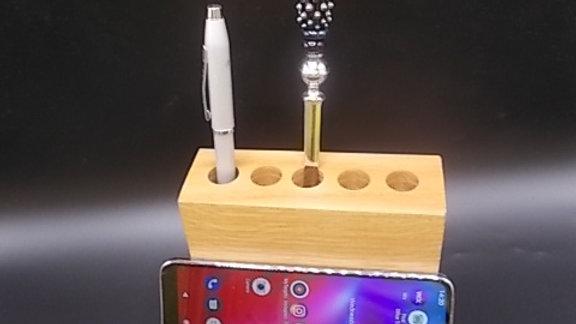 Pen Holder/ Smartphone holder hand made in English Oak