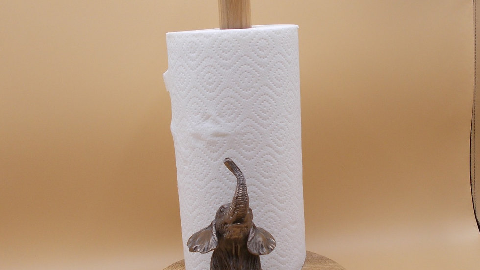Kitchen Roll Holder with Bronze elephant