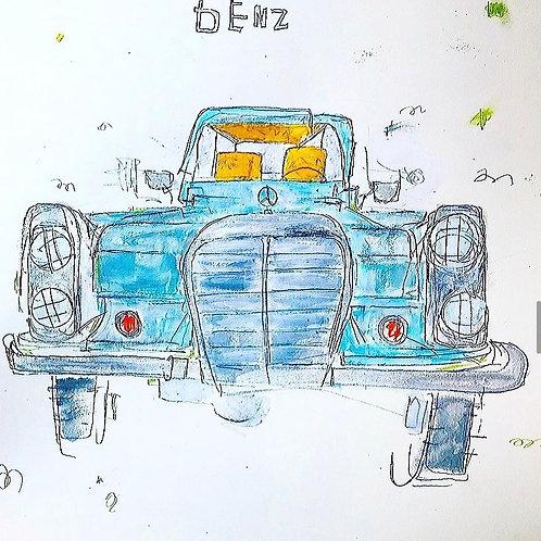 Baby blue Benz 16x20
