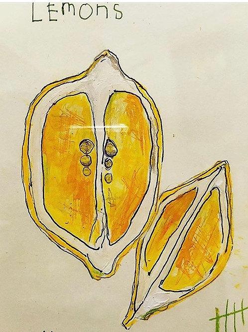 Lemons (paper) 5x7 framed