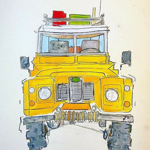 Yellow Land Rover 16x12