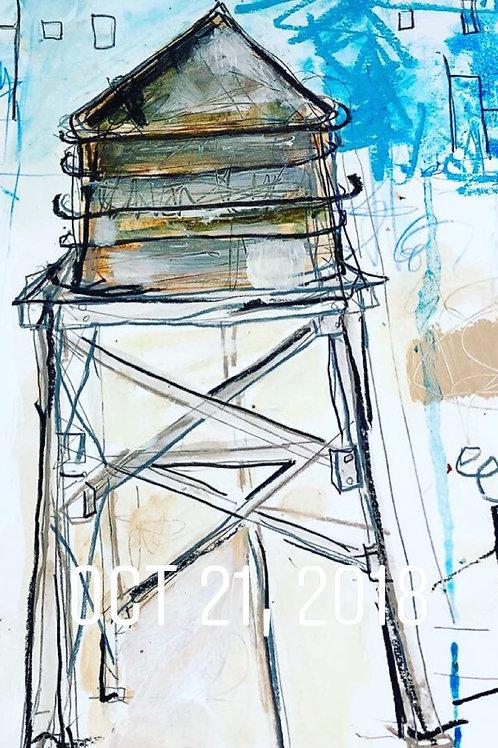 Water tower/NewYork 11x14 paper